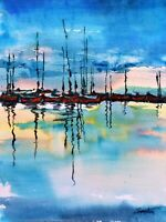 Landscape with Red Boats - Watercolor Painting Art Wall Print FREE FAST SHIPPING