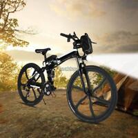 "27 speed Electric Mountain Bike 26"" Ebike Bicycle Fat Tire 250W 36V Folding New"