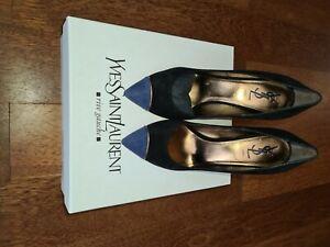 YSL Yves Saint Laurent Rive Gauche Opyum Black Dark Blue Shoes Size 38 UK5 BNIB