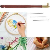 Rollhaken mit 3 Nadeln Stickerei Perlen häkeln Tools Kit