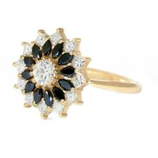 1.38Tcw Black & White Diamond Engagement Cluster Ring in 14K Yellow Gold Plated