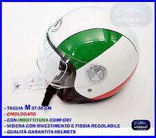 Casco Bandiera Italia Tricolore Jet per Scooter Moto Quad Vespa Taglia M
