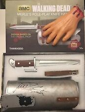 ~JSA COA SIGNED!~ Walking Dead Merle Cosplay Knife & Hand Prop Replica-M. Rooker