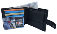 RFID BLOCKING 100% REAL LEATHER WALLET SUPER SOFT BLACK COIN POCKET ID HOLDER