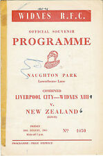 Liverpool City & Widnes v New Zealand 18 Aug 1961 Widnes RUGBY LEAGUE PROGRAMME
