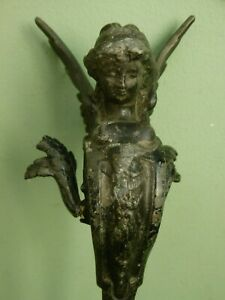 SUPERB 19thc ARCHITECTURAL SPELTER WINGED ANGEL FIXTURE FIGURE