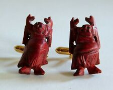 Rare Vintage Carved Wood Buddha Cufflinks w/ Eyes