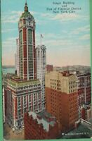 Vintage New York City  NY  Postcard Singer Building & Financial District