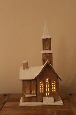 Christmas Decoration Cute Wooden 10 Warm White LED Brown Church Chapel w Snow
