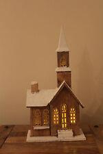 decorazione di Natale carino in legno 10 bianco caldo LED Marrone Chiesa
