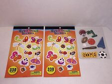 12 Sheet / 660 Bug Insect Stickers + 8 Pc Wood Sport Accents Craft Scrapbooking