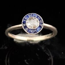 Old European Cut Diamond Platinum Sapphire Modern Engagement Ring Art Deco Style