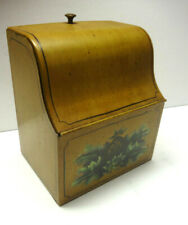ANTIQUE TIN TOLE WARE  HAND PAINTED RECIPE  STORAGE BOX- PINEAPPLE & LEAF