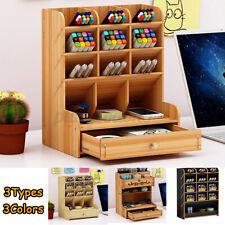Pencil And Pen Holder Office Desk Supplies Organizer Desktop Wooden Storage Desk