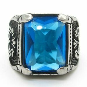 Mens Blue CZ Stone Onyx Sapphire Ring For Men Stainless Steel Size 7-15 Gift