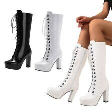 Women Ladies Gothic Mid Calf Boots Outdoor Platform Block Heel Shoes 46/47/48 L