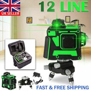 UK 12 Line Laser Level Green Self Leveling 3D 360° Rotary Cross Measure Tool Kit