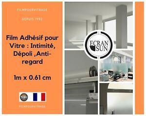 064 - Film Adhésif pour Vitre : Intimité, Dépoli ,Anti-regard - 1m x 61cm