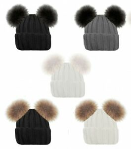 Ladies Ribbed Knitted Beanie Hat With 2 Large Faux Fur Pom Poms Winter Warm