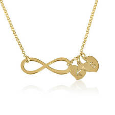 Infinity Necklace 24k Gold Plated Initial Pendant Engraved Love Fashion Jewelry