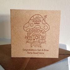 New Home MINI Card Mushroom Home Personalised 100% Recycled Handmade Any Wording
