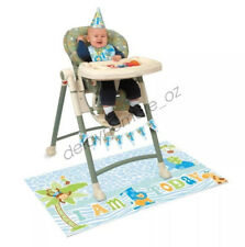 Boy 1st Birthday High Chair Kit Safari Jungle Party Hat Flags First Decoration