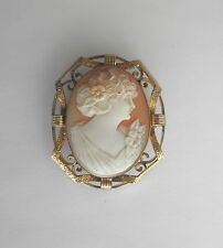 Antique Victorian Shell Cameo Brooch/Pendant in Ornate Gold-Filled Frame~Lovely