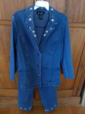 Ladies Denim & Co. 2 pc. Blue Jean Set, Jacket & Pants, Embroidered, Large