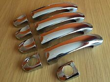 CHROME 4 DOOR HANDLE COVERS SET FOR VW TRANSPORTER T5 T6 CARAVELLE CADDY VAN