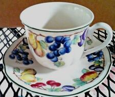 Villeroy & Boch Melina Flat Cup & Saucer Set Fruit with Green Edge Rim