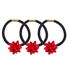 Lux Accessories Black Hair Elastic Ties Red Holiday Gift Ribbon Set of 3