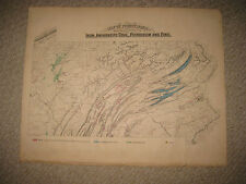 ANTIQUE 1872 IRON COAL GAS PETROLEUM ZINC MINING PENNSYLVANIA MAP GEOLOGY RARE