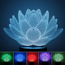 1.5W 3D Illusion Lamp Lotus Flower LED Night Light Acrylic Discoloration Lamp