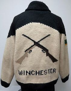 vtg WINCHESTER RIFLE SHOTGUN SHELL Heavy Sweater 80s Wool Full Zip handmade rare