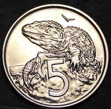 New Zealand 5 Cents, 1970 Proof-Like~Only 20,010 Minted~Tuatara~Free Shipping