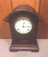 Antique New Haven Mantel Clock with Inlay on Mahogany Case Runs  Time and Strike