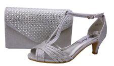 Zapatos de Danza Noche Zapatos Plata Tiras Con Aptas Bolso Novia 6666