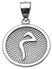 "White Gold Arabic Letter ""miim"""" M Initial Charm Pendant"