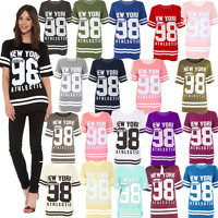 JUSTYOUROUTFIT Ladies New York98 Baseball Varsity Oversized BaggyT-shirt 8 TO 26
