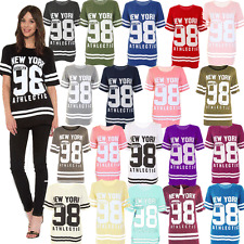 D&D Ladies New York98 Baseball Varsity Top Womens Oversized BaggyT-shirt 8 TO 26