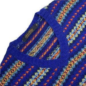 VTG XL Brooks Brothers Blue Fair Isle Chunky Knit Wool  V Neck Made England
