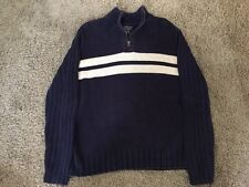 Mens Polo Jean CO Ralph Lauren Blue Sweater W/ 1/4 Zip, Size XL