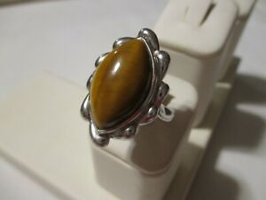 VINTAGE LARGE STERLING SILVER GENUINE CABOCHON MARQUISE TIGEREYE RING - SZ 7