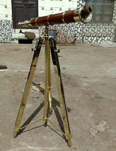 Antique Nautical Floor Standing Brass 27 Inch Telescope With Wooden Tripod Stand