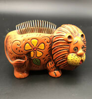 Vtg 60's-70's Ceramic Orange Lion Pen Pencil Letter Holder Piggy Bank Japan