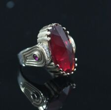 Turkish Ottoman Style Jewelry 925 Sterling Silver Ruby Ring Size 8