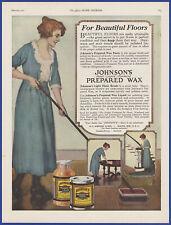 Vintage 1921 JOHNSON'S Prepared Wax Paste Liquid Cleaning Ephemera 20's Print Ad