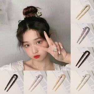 1PC U Shaped Hair Clip Acetate Hairpin Tortoiseshell Hair Sticks Resin Hair Fork