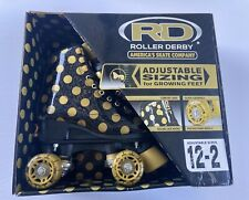 Rd Roller Derby Black Gold Polka Dot Skates girls Adjustable Size12-2 - Nib