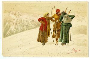 Rare Antique Set 8 Vouga Swiss Postcards Geneve Skiers Mountains Women Cottages
